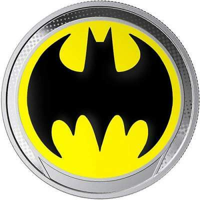 2019 Barbados $1 DC BATMAN Glow in the Dark BAT SIGNAL Proof Silver Coin