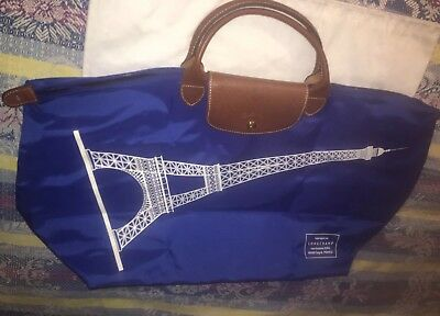 Longchamp Authentic LARGE Le Pliage Blue Eiffel Tower Tote Ltd Edition  France d0418e58d8918