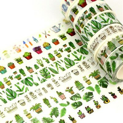 Decor Succulent Cactus Washi Tape Mask Paper Scrapbook 1.5cm*10m Adhesive Tape