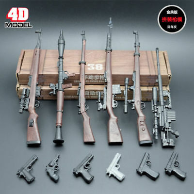 "1/6 Scale 6pcs 4D Rifle Assembly Weapon Model Set Gun Toy Fit 12"" Figure Body"