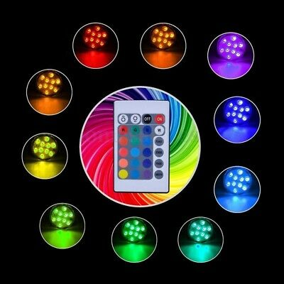 7Colors LED RGB Underwater Swimming Pool Bright Light Lamp w/ Remote Controller