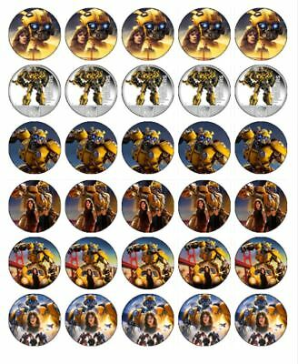 30 BUMBLEBEE TRANSFORMERS Edible Wafer Paper Birthday Cake Decoration Toppers #1