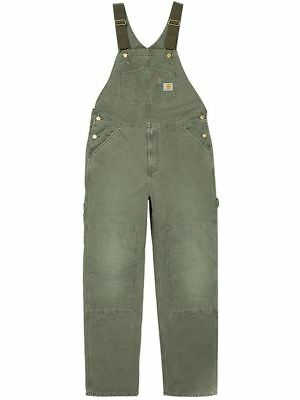 Carhartt WIP Bib Overall, Canvas, Leaf Stony Washed, W31in L32in