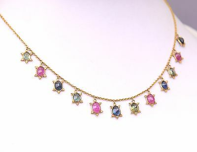 Vintage Necklace solid 21K Gold 12 Blue Red Green Sapphires Rubies  / 5.1gr