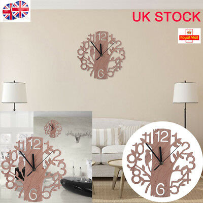 UK Modern Wooden Wall Clock Artistic Style Home Office Decor Large Watch 22cm