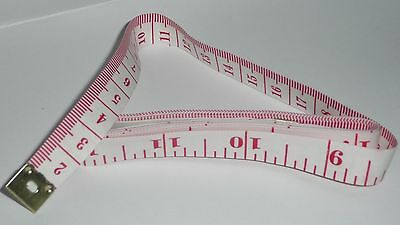 """150cm / 60"""" TAPE MEASURE White with Red Indicators NEW tailor sewing craft"""