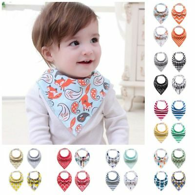 UK 4Pcs Baby Bandana Bibs Kid Feeding Saliva Drool Towel Dribble Triangle Scarf