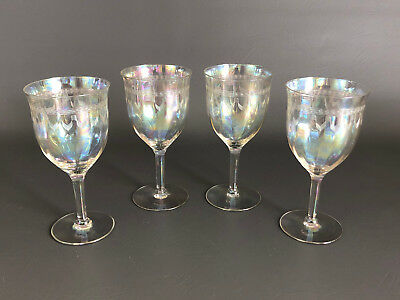 ART DECO optic lusterware clear glass water goblets / pin point engraving 1930s