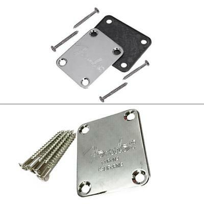 Fender Chrome Neck Joint Plate & 4 Screws for Electric/Bass Guitar Strat Tele