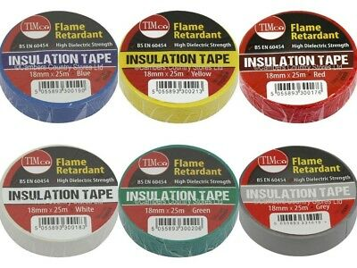 NEW Professional Quality Flame Retardant Insulation Tape 18mm x 25m All Colours