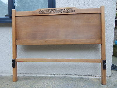 Refurbished Waxed Antique Oak Double Bed Frame - Carved Head & Footboard