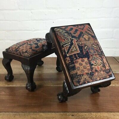 Pair Of C19th Mahogany Ball And Claw Footstool Furniture Foot Stool Antique