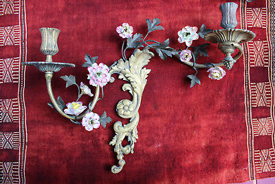Antique French bronze and porcelain flowers pair of sconces late 19th