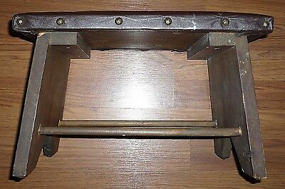 Vintage Wood and Leather Mission Craftsman Style Footstool