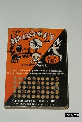 "Halloween Punch Card Board Vintage Holiday Toy ""A Party Game"""