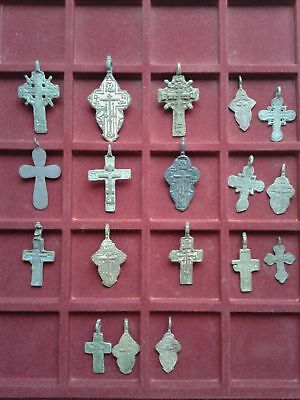 Metal detector finds.Mix lot  ancient crosses (The age of 17-19)18 pieces. N35