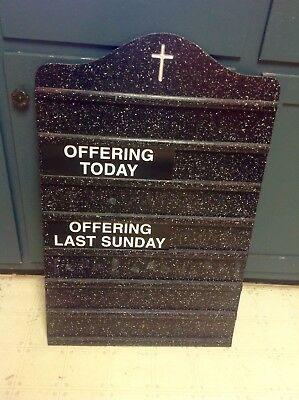 Vintage Church Hymn Hymnal Offering Attendance Black Wood Wall Sign Board *RARE*