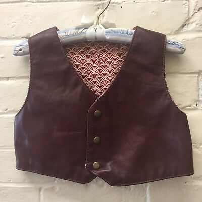 Vtg 70s Boy 6? Handmade Thick Leather Vest brown&tan lined snaps western boho