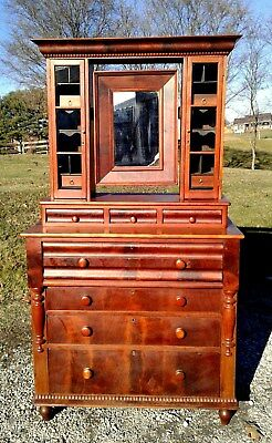 Antique Cherry Empire Secretary Desk w Mirror and a Six Pane Top One Piece 1870s
