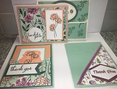 Lot 3 Stampin Up Thank You Cards Envelopes Handmade Magnetic