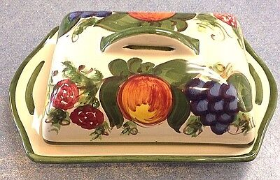 Vietri Pottery-Square Butterdish Enza Green.Made/Painted by hand in Italy