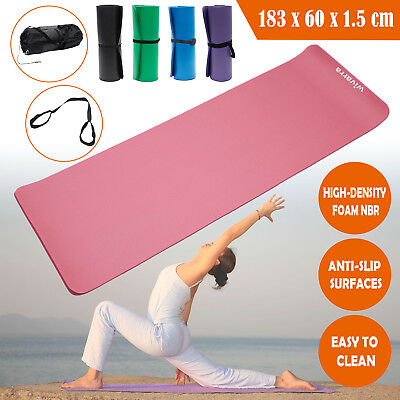 New Yoga Mat for Pilates Gym Exercise Carry Strap 15mm Thick Large Comfortable