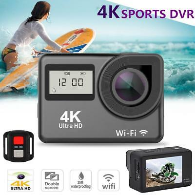 4K Touch Screen Sport Action Camera WIFI 170° Dual Screen 12MP 30m Waterproof DV