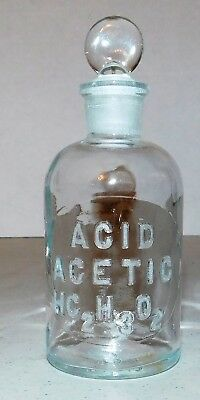 Apothecary/Pharmacy~ACETIC ACID Vintage Bottle with Glass Stopper