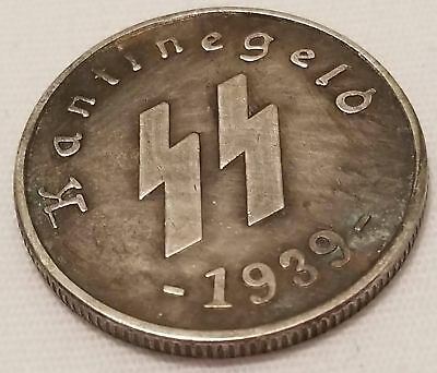 WW2 WWII German Elite coins SS Kampft Weiter 1 Schilling Kantine bar money 1939