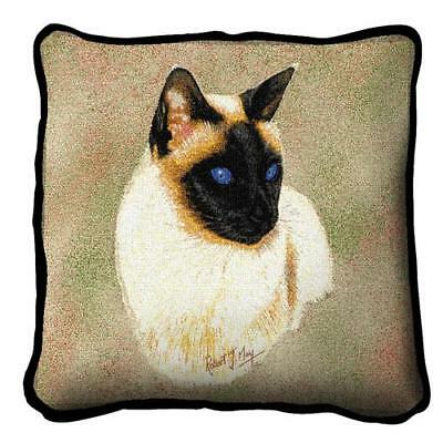 Siamese Kitty Cat by Robert May Woven Art Tapestry Pillow 1954-P Made in USA