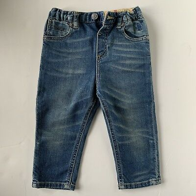 Gently Used Burberry Boys Blue Jeans Elastic Waist Size 12 Months Faded Blue