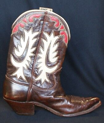 4bc6ce376c2 VINTAGE JUSTIN INLAY Cowboy Boots Pointy Toe Underslung Heel Small Size