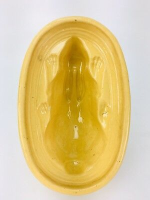 ANTIQUE 1800's YELLOW WARE BUNNY RABBIT MOLD-JELLO, ICE CREAM-RARE FOLK ART