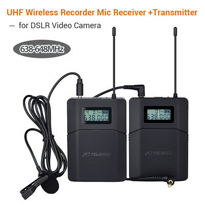 6 Channel Digital UHF Wireless Microphone Lavalier Lapel Mic for Phone Camcorder