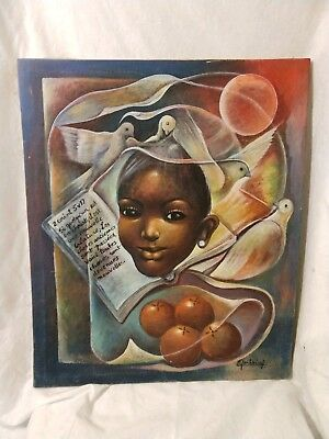 Signed art Painting Jean-Robert Fontaine  Haitian artist Religious canvas doves