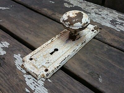 VTG Antique SHABBY Old Door Knob & Metal Rustic Mission Keyhole Backplate -