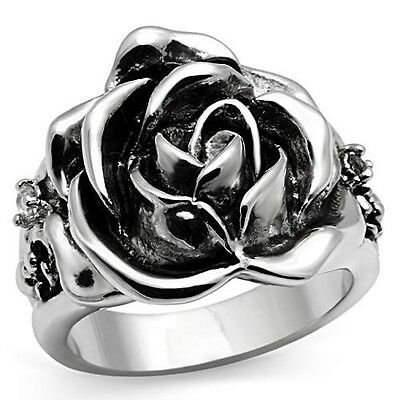 Carved Rose Flower Ring  Rhodium Antique Silver CZ Size 5