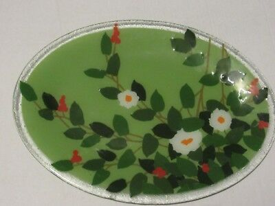 Peggy Karr fused artglass oval platter, 17 x 12 flowers berries excellent signed