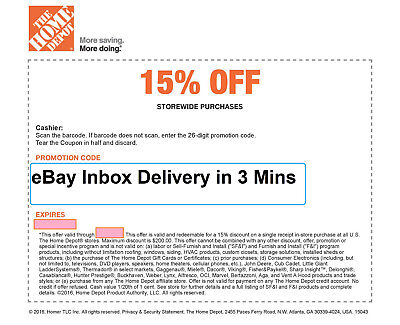 1x ONE Home Depot 15% Off-1coupon- In Store Only -saving 200$ max--Very-Fast--