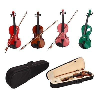US Hot 4/4 Full Size Natural Acoustic Violin Fiddle with Case Bow Rosin 4-Colors