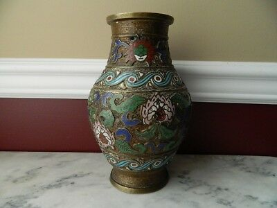 19th century Asian/Oriental enameled brass vase, about 9 3/4 inches tall