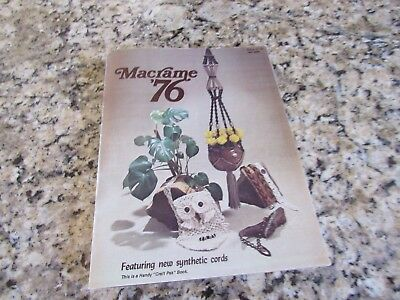 Vintage Macrame '76 Book-1976-Owl Purse-Belt, Choker Patterns-Bicentennial Eagle