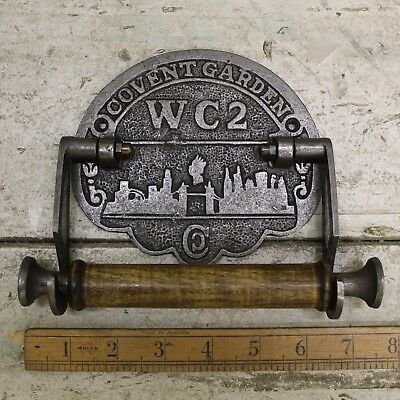 """Classic Vintage Toilet Roll Holder Covent Garden WC2 Antique Iron and Wood 6"""""""