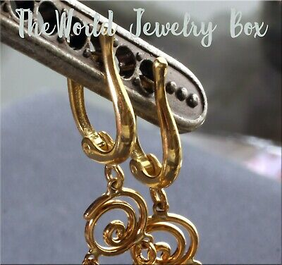 14K Gold Horseshoe Click in Lever Back Earring Wire Pair with Open Jump Ring
