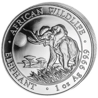 2016 Somalia African Elephant 1 Oz .999 Silver Coin In Capsule