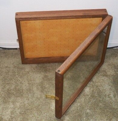 Vintage  OAK DISPLAY CASE - GLASS FRONT w hasp WALL/TABLE MOUNT