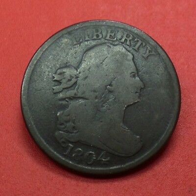 1804 Draped Bust Half Cent SPIKED CHIN & DOUBLE CUD MINT ERROR Early US Variety
