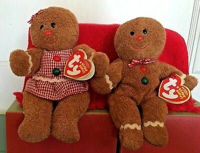 9f3fd3ed390 Ty Beanie Baby Set HANSEL   GRETEL the Gingerbread Couple With Tags 2007