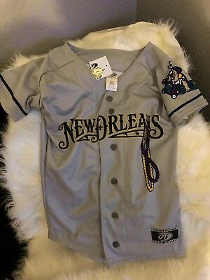 New Orleans Baby Cakes OT SPORTS Youth S Grey Away Replica Baseball Jersey RARE