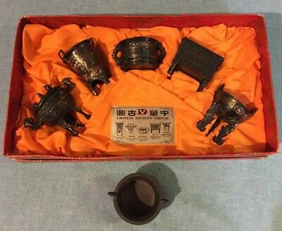 Chinese Ancient Tripod Set Of 5 Reproduction In Box